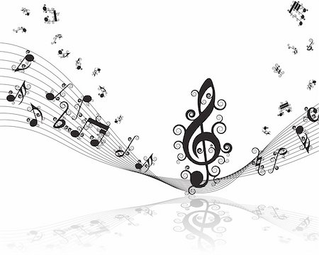 Vector musical notes staff background for design use Stock Photo - Budget Royalty-Free & Subscription, Code: 400-05175436