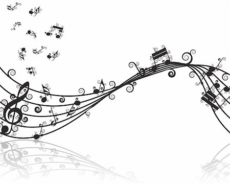 simsearch:400-04676325,k - Vector musical notes staff background for design use Stock Photo - Budget Royalty-Free & Subscription, Code: 400-05175433