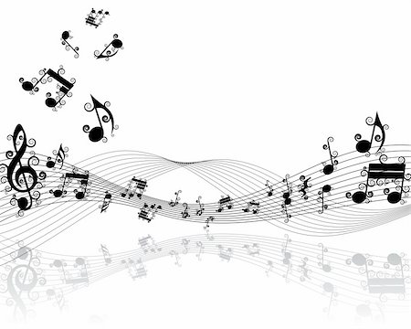 simsearch:400-04676325,k - Vector musical notes staff background for design use Stock Photo - Budget Royalty-Free & Subscription, Code: 400-05176260