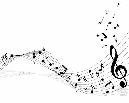 simsearch:400-04676325,k - Vector musical notes staff background for design use Stock Photo - Budget Royalty-Free & Subscription, Code: 400-05177375