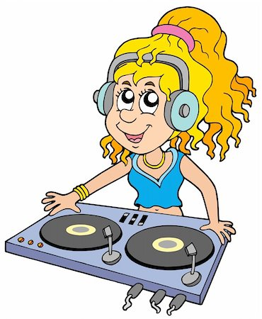 Cartoon DJ girl on white background - vector illustration. Stock Photo - Budget Royalty-Free & Subscription, Code: 400-05178672