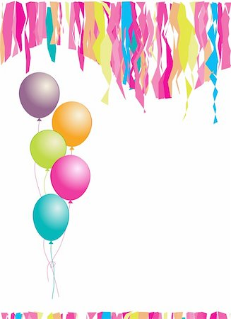 Happy birthday! Balloons and confetti. Insert your text here. Stock Photo - Budget Royalty-Free & Subscription, Code: 400-05178815