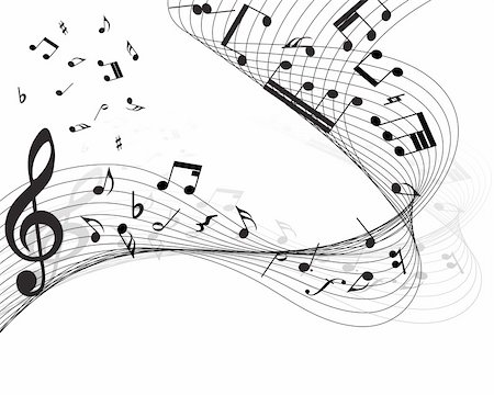 Vector musical notes staff background for design use Stock Photo - Budget Royalty-Free & Subscription, Code: 400-05179958