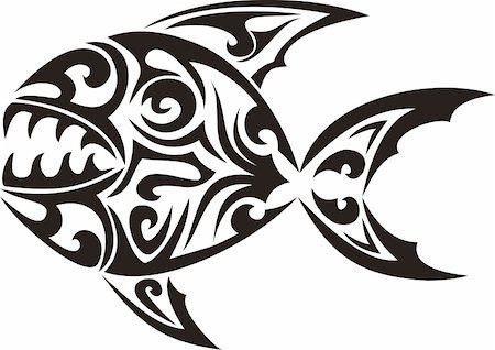 piranha fish - Tribal fish tattoo - vector illustration Stock Photo - Budget Royalty-Free & Subscription, Code: 400-05171383