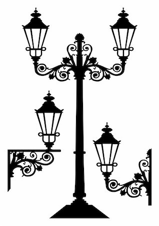 elakwasniewski (artist) - Set of vector street lamp silhouettes, full scalable vector graphic included Eps v8 Stock Photo - Budget Royalty-Free & Subscription, Code: 400-05171741
