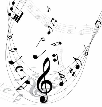 simsearch:400-04676325,k - Vector musical notes staff background for design use Stock Photo - Budget Royalty-Free & Subscription, Code: 400-05173708