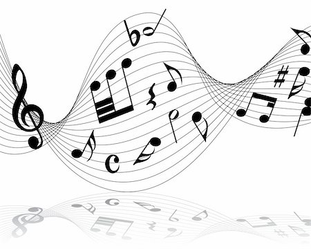 Vector musical notes staff background for design use Stock Photo - Budget Royalty-Free & Subscription, Code: 400-05173710