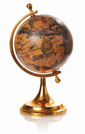 Old globe isolated on white background with soft reflection Stock Photo - Budget Royalty-Free & Subscription, Code: 400-05173889