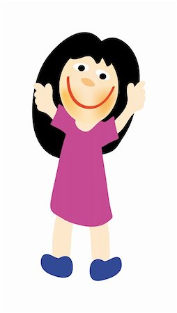 nice illustration of happy girl isolated on white background Stock Photo - Budget Royalty-Free & Subscription, Code: 400-05184172
