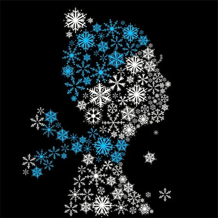 Stylized woman head, snowflakes. Winter season. Stock Photo - Budget Royalty-Free & Subscription, Code: 400-05184254