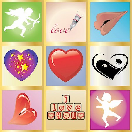 Valentine greetings card, You can use it as 1 and as 9 little cards, Vector illustration, see more at my portfolio Stock Photo - Budget Royalty-Free & Subscription, Code: 400-05185728