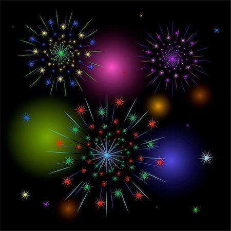 fireworks illustrations - Vector fireworks on black. EPS 8, AI, JPEG Stock Photo - Budget Royalty-Free & Subscription, Code: 400-05185952