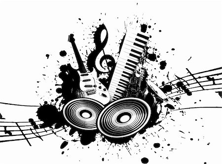 cool wacky grunge Music background with music details Stock Photo - Budget Royalty-Free & Subscription, Code: 400-05186417