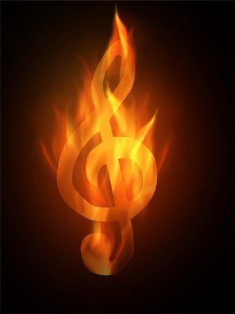 silhouette musical symbols - The hot burning contour of a clef Stock Photo - Budget Royalty-Free & Subscription, Code: 400-05186690
