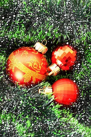 silver box - Red Christmas balls among green new year tree Stock Photo - Budget Royalty-Free & Subscription, Code: 400-05187210