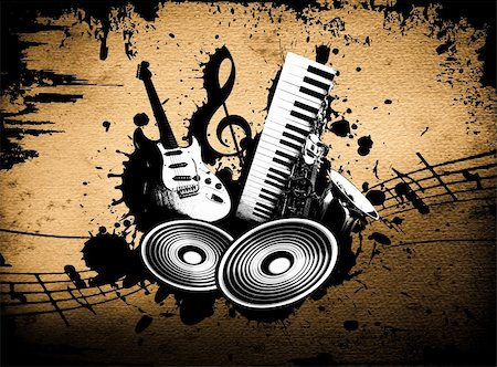 cool wacky grunge Music background with music details Stock Photo - Budget Royalty-Free & Subscription, Code: 400-05187738