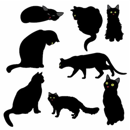 simsearch:400-04399778,k - black cat silhouettes, vector illustration Stock Photo - Budget Royalty-Free & Subscription, Code: 400-05187992