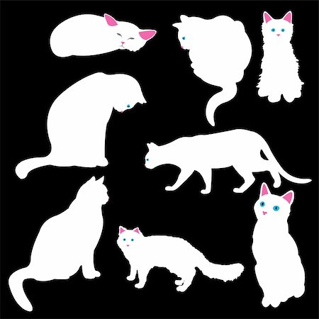 simsearch:400-04399778,k - white cat silhouettes, vector illustration Stock Photo - Budget Royalty-Free & Subscription, Code: 400-05187993