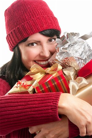 silver box - Happy, Attractive Woman Holds Holiday Gifts Isolated on a White Background. Stock Photo - Budget Royalty-Free & Subscription, Code: 400-05188074