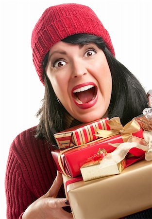 silver box - Happy, Attractive Woman Holds Holiday Gifts Isolated on a White Background. Stock Photo - Budget Royalty-Free & Subscription, Code: 400-05188075