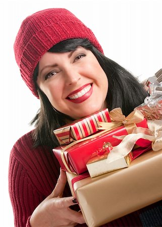 silver box - Happy, Attractive Woman Holds Holiday Gifts Isolated on a White Background. Stock Photo - Budget Royalty-Free & Subscription, Code: 400-05188076