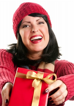 silver box - Happy, Attractive Woman Offering Holiday Gift Isolated on a White Background. Stock Photo - Budget Royalty-Free & Subscription, Code: 400-05188077