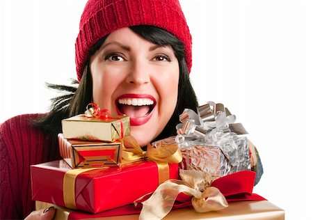 silver box - Happy, Attractive Woman Holds Holiday Gifts Isolated on a White Background. Stock Photo - Budget Royalty-Free & Subscription, Code: 400-05188072