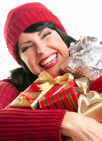 silver box - Happy, Attractive Woman Holds Holiday Gifts Isolated on a White Background. Stock Photo - Budget Royalty-Free & Subscription, Code: 400-05188073