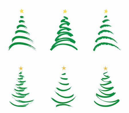 six green stylized  christmas trees isolated  on white background Stock Photo - Budget Royalty-Free & Subscription, Code: 400-05188785