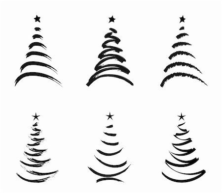 six black stylized  christmas trees isolated  on white background Stock Photo - Budget Royalty-Free & Subscription, Code: 400-05188783