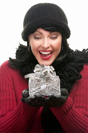 silver box - Happy, Attractive Woman Holds Holiday Gift Isolated on a White Background. Stock Photo - Budget Royalty-Free & Subscription, Code: 400-05188864
