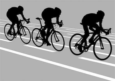 Vector drawing cyclists while driving Stock Photo - Budget Royalty-Free & Subscription, Code: 400-05189317