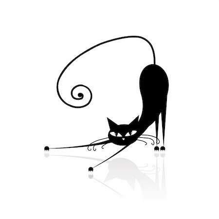 Black cat silhouette for your design Stock Photo - Budget Royalty-Free & Subscription, Code: 400-05183190