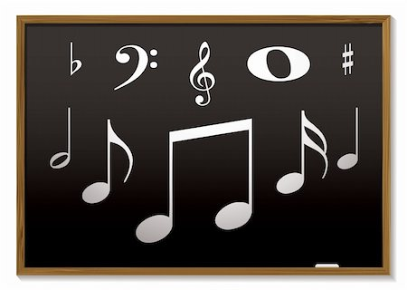 music lesson inspired with musical notes on a blackboard Stock Photo - Budget Royalty-Free & Subscription, Code: 400-05183894