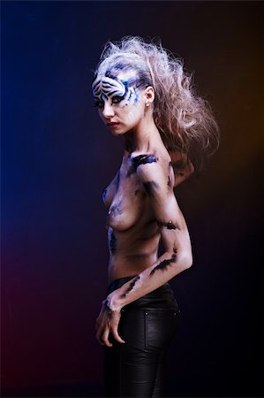 White tiger body paint Stock Photo - Budget Royalty-Free & Subscription, Code: 400-05194008