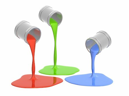 pouring paint art - Conceptual image - a palette RGB. Objects over white Stock Photo - Budget Royalty-Free & Subscription, Code: 400-05195425