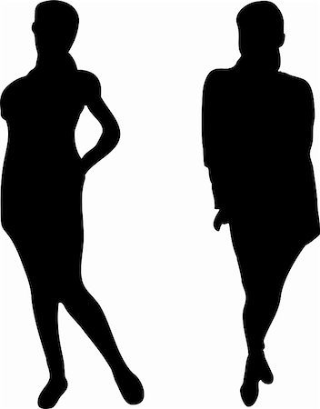 simsearch:400-04096935,k - 2 Elegant Women silhouettes on white background. Editable Vector Image Stock Photo - Budget Royalty-Free & Subscription, Code: 400-05195796