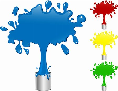 paint dripping graphic - Blue, Red, Yellow and Green Paint Splash Buckets. Editable Vector Illustration Stock Photo - Budget Royalty-Free & Subscription, Code: 400-05195819