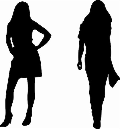 simsearch:400-04096935,k - 2 sexy Women silhouettes on white background. Editable Vector Image Stock Photo - Budget Royalty-Free & Subscription, Code: 400-05195921