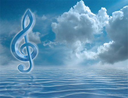 sheet music background - Blue music symbol in a harmonious seascape Stock Photo - Budget Royalty-Free & Subscription, Code: 400-05199710