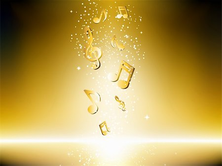 simsearch:400-04676325,k - Golden background with music notes and stars. Editable Vector Image Stock Photo - Budget Royalty-Free & Subscription, Code: 400-05199825
