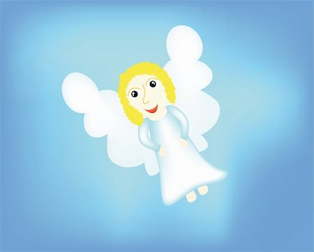 flying hearts clip art - nice angel isolated on background Stock Photo - Budget Royalty-Free & Subscription, Code: 400-05190369