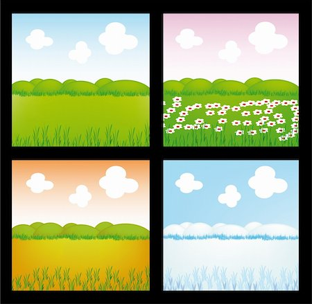 very nice illustration of four season (spring, summer, autumn, winter) Stock Photo - Budget Royalty-Free & Subscription, Code: 400-05190374