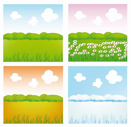 very nice illustration of four season (spring, summer, autumn, winter) Stock Photo - Budget Royalty-Free & Subscription, Code: 400-05190373
