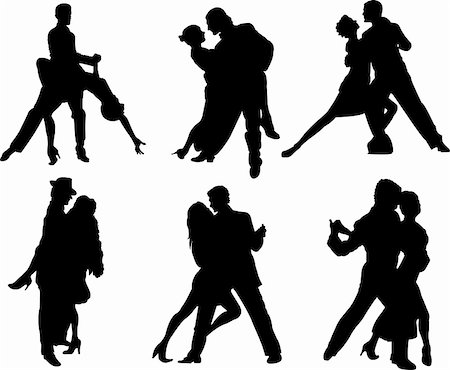 Set of tango dancers silhouettes. Vector illustration Stock Photo - Budget Royalty-Free & Subscription, Code: 400-05191548