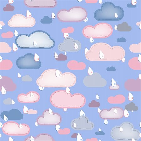 Rain  and Clouds Seamless. Editable Vector Illustration Stock Photo - Budget Royalty-Free & Subscription, Code: 400-05192606