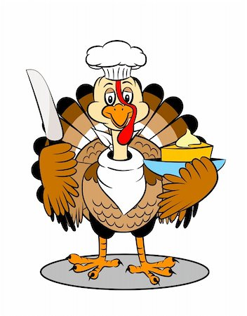 An adorable cartoon turkey ready to serve piece of cake Stock Photo - Budget Royalty-Free & Subscription, Code: 400-05193252