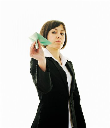 happy young business woman isolated ona white throwing paper airplane Stock Photo - Budget Royalty-Free & Subscription, Code: 400-05204430