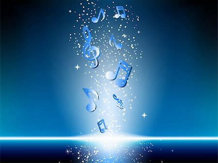 simsearch:400-04676325,k - Blue background with music notes and stars. Editable Vector Image Stock Photo - Budget Royalty-Free & Subscription, Code: 400-05206823