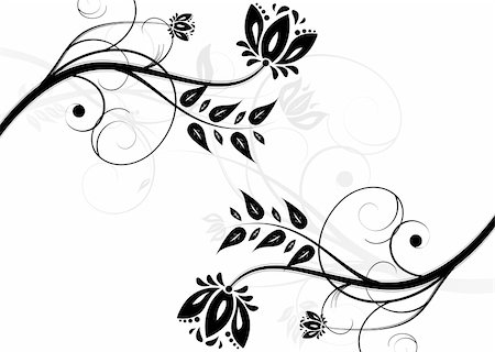 pretty in black clipart - Black and white floral background (horizontal position) Stock Photo - Budget Royalty-Free & Subscription, Code: 400-05206864